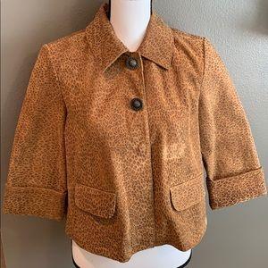 Vintage Tan Cheetah Leopard Leather Crop Jacket